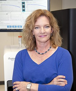 Elaine Mardis, PhD, of the McDonnell Genome Institute at Washington University. The genome sequencing, analysis and neoantigen prediction that led to the personalized melanoma vaccines were performed at the institute.